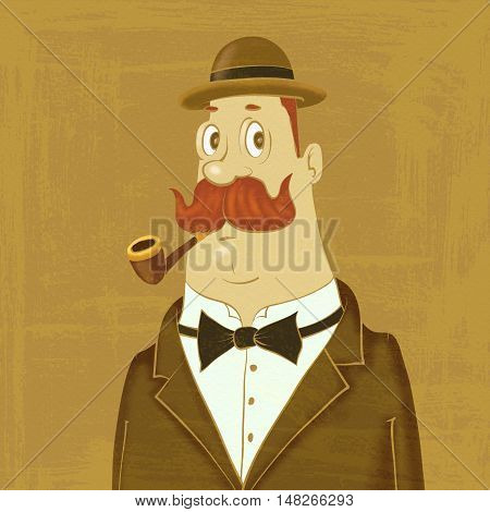 gentleman in bowler hat with a pipe
