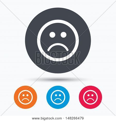 Sad smiley icon. Bad feedback symbol. Colored circle buttons with flat web icon. Vector