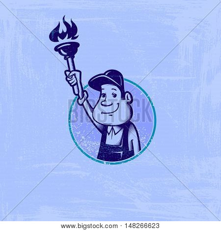 Vector image of a round frame with cartoon image of plumber with plunger in his hand