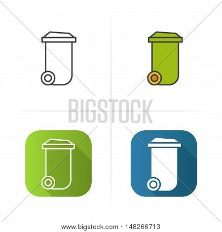 Trash can icon. Flat design, linear and color styles. Isolated vector illustrations