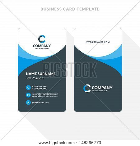 Vertical Double-sided Business Card Template. Blue And Black Colors. Flat Design Vector Illustration