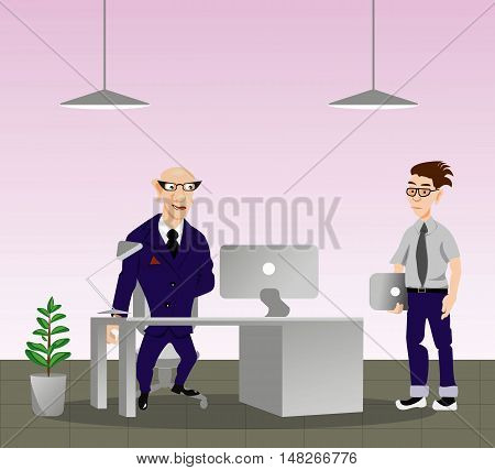 Business characters scene, the programmer is the Director, vector illustration