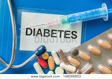 Diabetes Concept. A Lot Of Pills And Syringe Around.