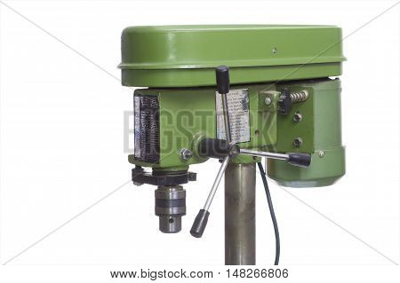 Green drilling machine on a white background.