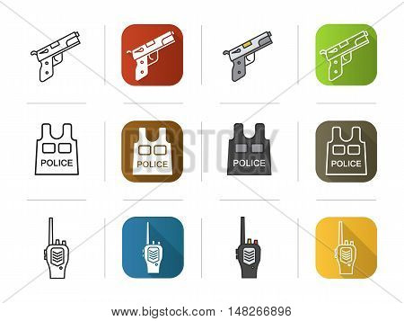 Police icons set. Flat design, linear and color styles. Gun, bulletproof vest, radio symbol. Isolated vector illustrations