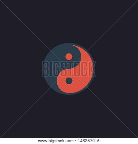 Ying-yang Color vector icon on dark background