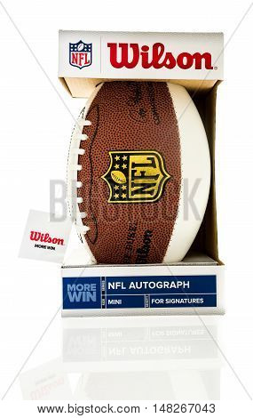 Winneconne WI - 1 August 2016: Wilson mini NFL football made for autographs on an isolated background.