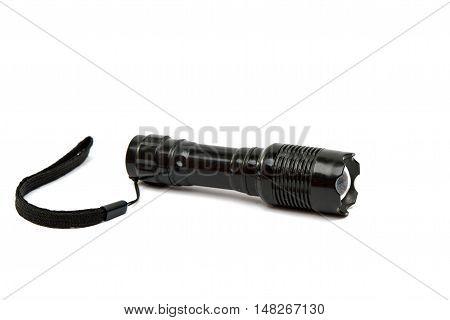 pocket flashlight illuminate, glass isolated on white background
