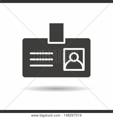 Badge icon. Drop shadow silhouette symbol. Negative space. Vector isolated illustration