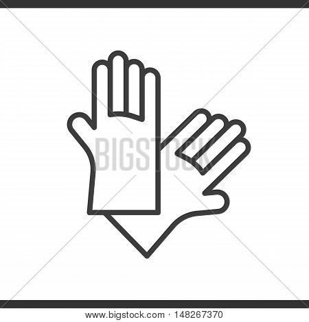 Latex gloves linear icon. Rubber arms thin line illustration. Vector isolated outline drawing
