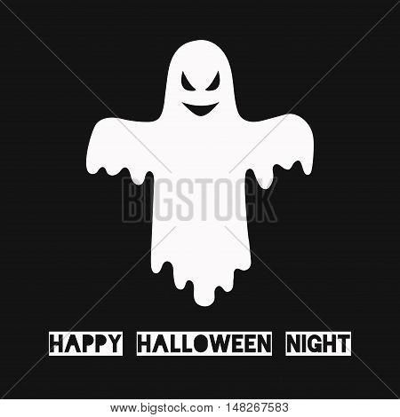 Ghost spirit halloween scary illustration vector card