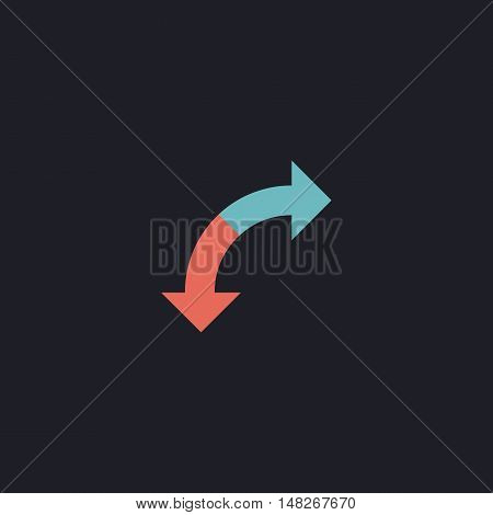 U-Turn Color vector icon on dark background