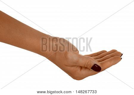 Open hand giving anything middle-aged female's skin red manicure. Isolated on white background.