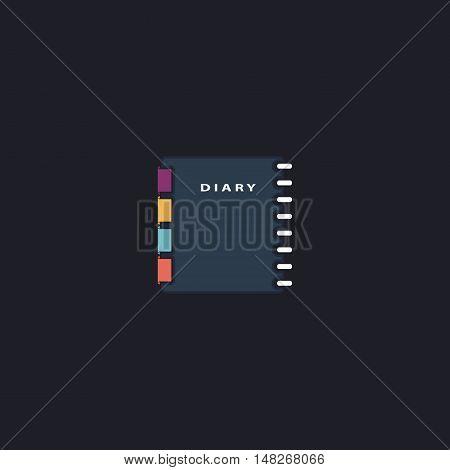 copybook Color vector icon on dark background