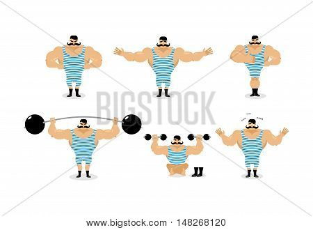 Strong Retro Athlete Set Poses. Ancient Bodybuilder With Mustache Emotions. Sportsman In Striped Sui