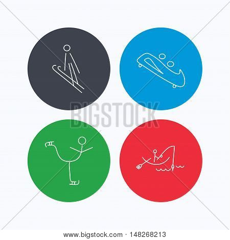 Fishing, figure skating and bobsled icons. Ski jumping linear sign. Linear icons on colored buttons. Flat web symbols. Vector
