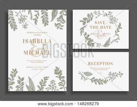 Vintage wedding set with greenery. Wedding invitation save the date reception card. Vector illustration. Boxwood seeded eucalyptus. Wreath with leaves and twigs. Engraving style. Design elements.