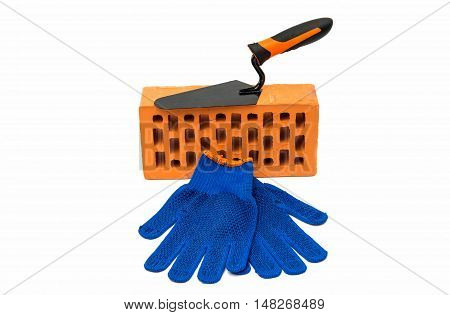 bricks trowel protective gloves isolated on white