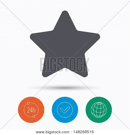 Star icon. Favorite or best sign. Web ranking symbol. Check tick, 24 hours service and internet globe. Linear icons on white background. Vector