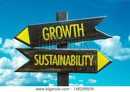 Growth vs Sustainability concept