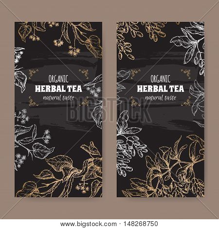 Set of two elegant labels for linden and barberry organic herbal tea. Based on hand drawn sketch. Placed on blackboard background.