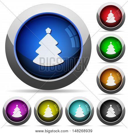 Set of round glossy christmas tree buttons. Arranged layer structure.