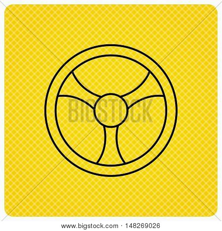 Steering wheel icon. Car drive control sign. Linear icon on orange background. Vector