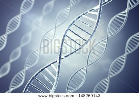 Concetp digital illustration DNA structure on purple. 3d rendering.