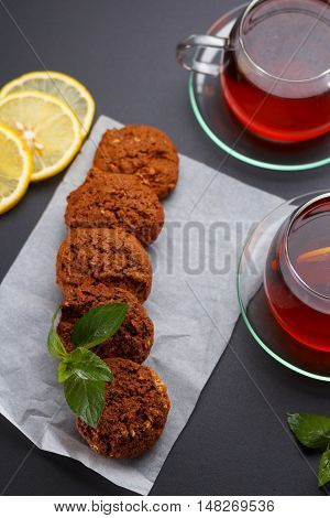 Homemade Oatmeal Cookies With Tea And Mint