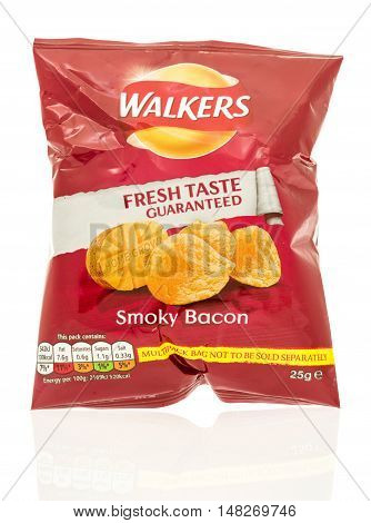 Winneconne WI - 12 August 2016: Bag of Walkers chips in smokey bacon flavor on an isolated background.