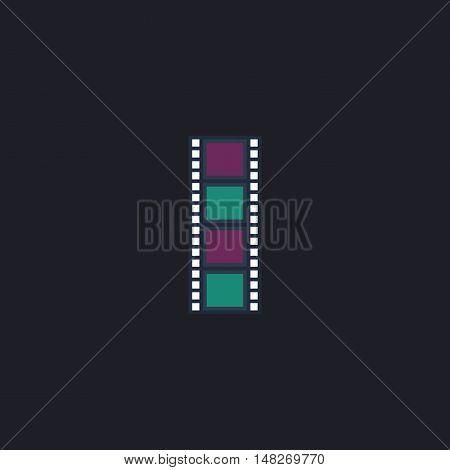 Film strip Color vector icon on dark background