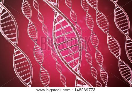 Concept of biochemistry with dna molecule on red. 3d rendering.