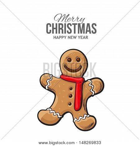 Traditional Christmas gingerbread, vector greeting card. Xmas ginger man on white background, traditional festive cookie, decoration element, Christmas greeting card template