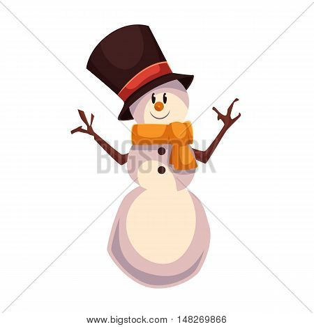 Happy snowman in a black cylinder and orange scarf, cartoon vector illustration isolated on white background. Drawing of snowman, traditional winter character, Christmas decoration element