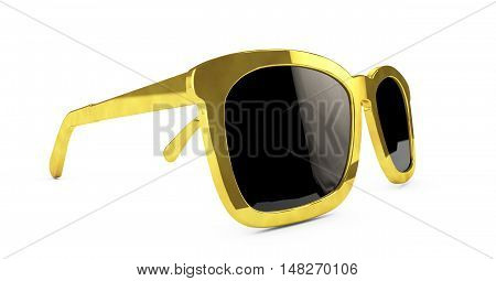 Beautiful and modern glasses in a gold frame 3d render