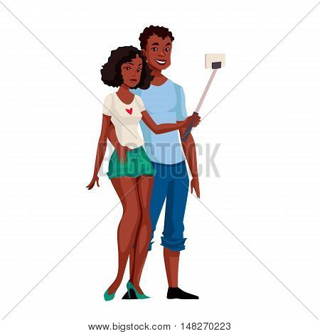 African American dark skinned couple taking selfie, cartoon style illustration. Young black male and female tourists taking pictures of themselves using phone and monopod