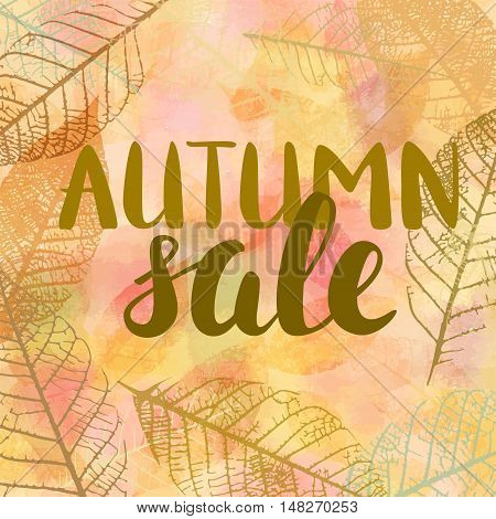 Vector Autumn Sale banner design, with hand drawn lettering, in a frame made up by skeleton leaves, on golden background texture