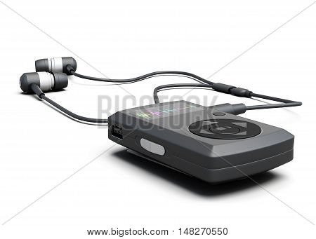 Music Player With Headphones On A White Background. 3D Rendering