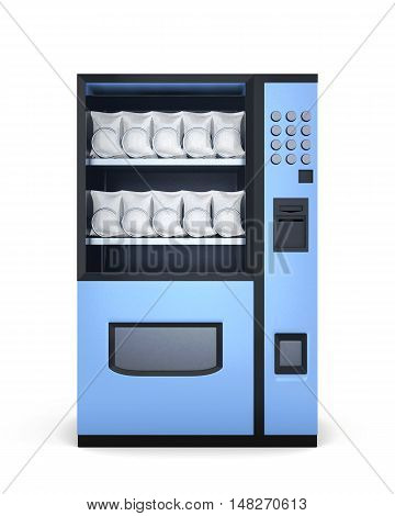 Blue Vending Machines On White Background. 3D Rendering