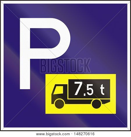 Road Sign Used In Hungary - Parking For Lorries