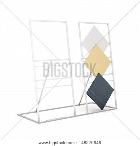 Metal Stand For Samples Isolated On White Background. 3D Rendering
