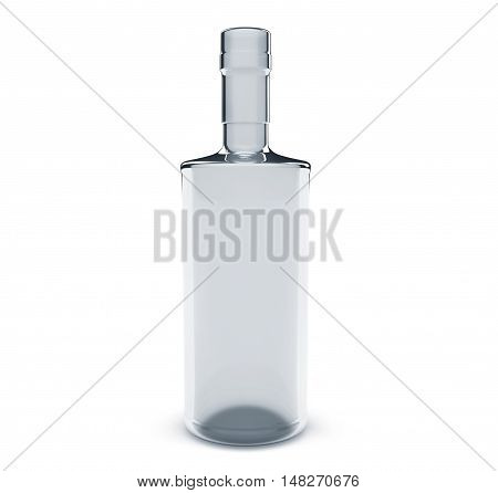 Glass empty green bottle. Isolated on white background 3d render