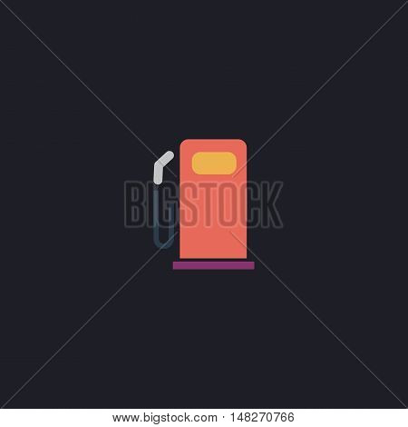petrol station Color vector icon on dark background