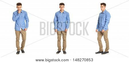 Handsome Young Man In Blue Shirt Standing Isolated