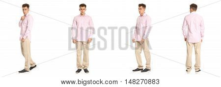Handsome Young Man In Pink Shirt Standing Isolated