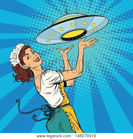 The waitress with UFO, pop art retro vector illustration