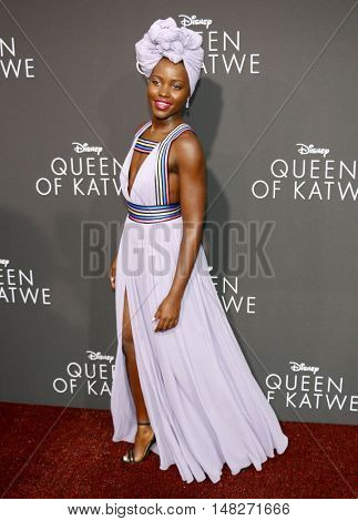 Lupita Nyong'o at the Los Angeles premiere of 'Queen Of Katwe' held at the El Capitan Theatre in Hollywood, USA on September 20, 2016.