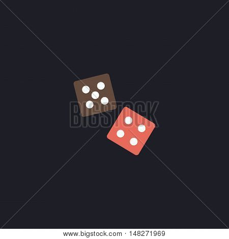 game dice Color vector icon on dark background