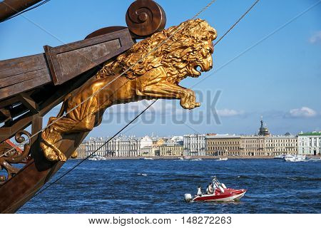 The nose of the ship lion on the embankment of the Neva River in St. Petersburg