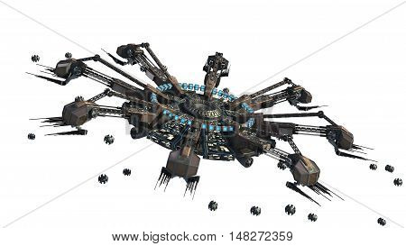 3D rendering of a spider-shaped UFO with drones, for futuristic, fantasy, interstellar travel or war game backgrounds, with the clipping path included in the file.